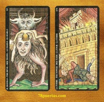 Diablo y Torre del Tarot Visconti Sforza de Lo Scarabeo Primera Edición
