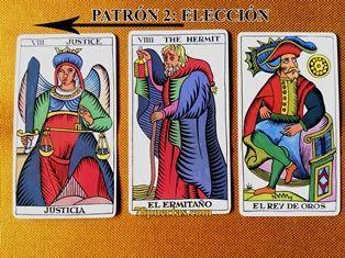 Justicia, Ermitaño y Rey de Oros del Tarot Español de Fournier