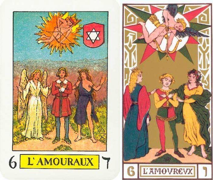 Arcanos del Enamorado del Tarot Knapp-Hall y de Oswald Wirth. El Amor en las Cartas del Tarot