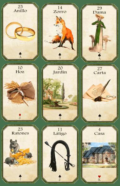Tablero Lenormand de 3x3 con cartas