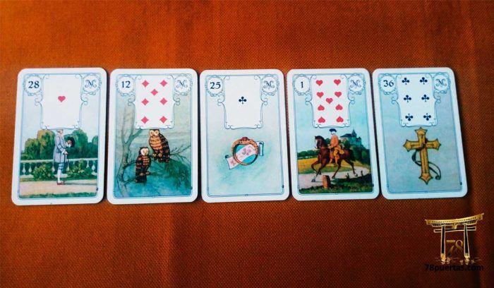 Una lectura de Tarot o Cartomancia puede condicionar. Tirada con el Oráculo Lenormand: Caballero, Pájaros, Anillo, Jinete y Cruz