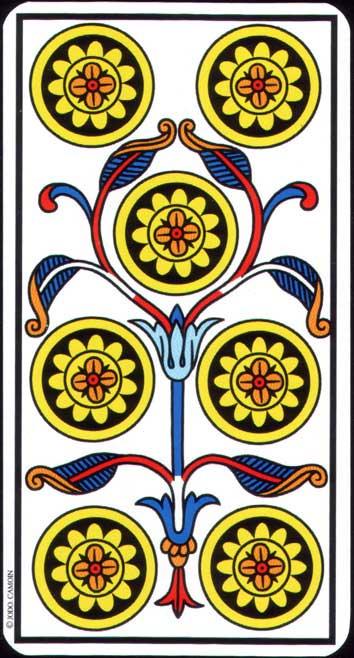 Siete de Oros del Tarot de Marsella