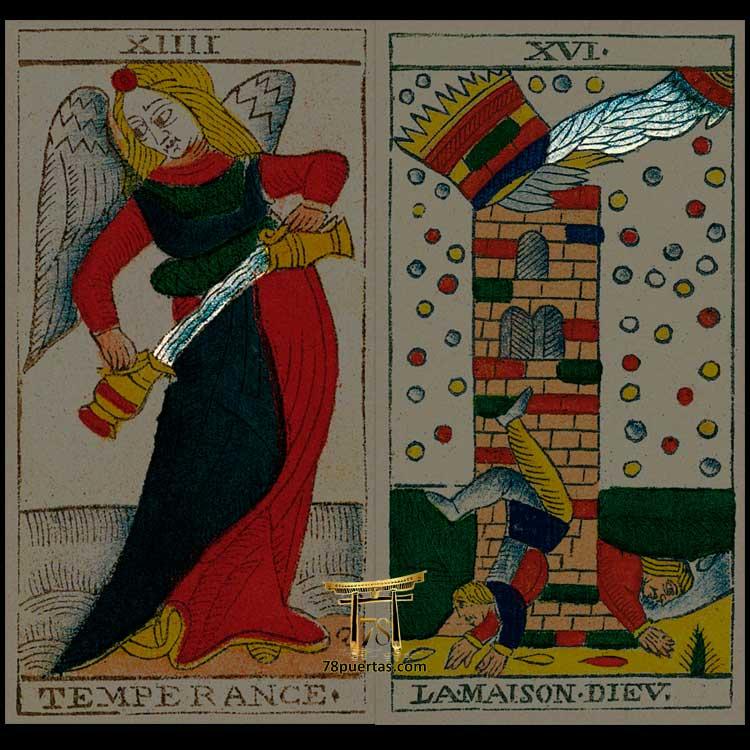 Arcano de la Templanza y la Torre del Tarot de Jean Pierre Payen